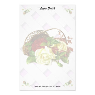 Red and White Roses in basket Stationary Stationery