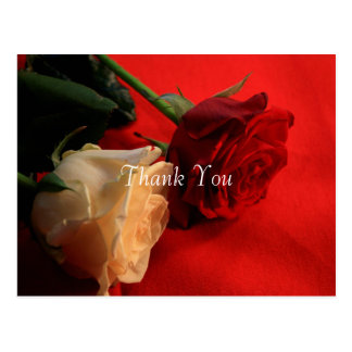 Red and White Roses Thank You Postcard