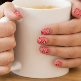 Red and White Scribbleprint Minx Nail Art