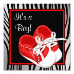 Red and White Shoes Red Zebra Baby Boy Shower Custom Announcements