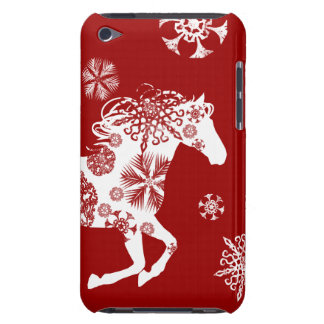 Red and White Snowflake Christmas Horse Barely There iPod Cases