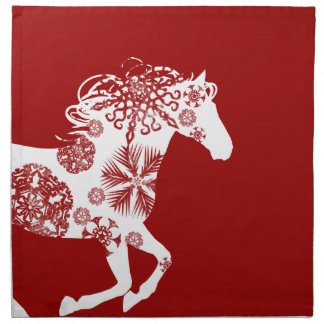 Red and White Snowflake Christmas Horse Napkin