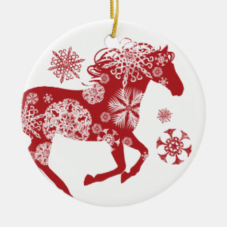 Red and White Snowflake Christmas Horse Round Ceramic Decoration