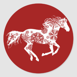 Red and White Snowflake Christmas Horse Round Sticker