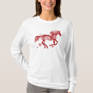 Red and White Snowflake Christmas Horse T-Shirt