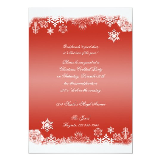 Red and White Snowflake Christmas Party Card