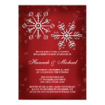 RED AND WHITE SNOWFLAKE COUPLES ENGAGEMENT PARTY 13 CM X 18 CM INVITATION CARD