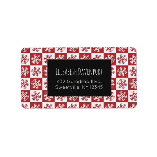 Red and White Snowflake Pattern Address Label