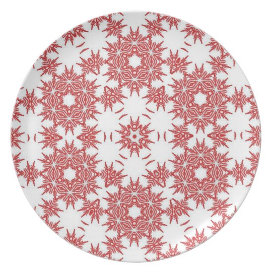 Red and white snowflake patterns plate