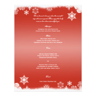 Red and White Snowflake Wedding Menu Full Color Flyer