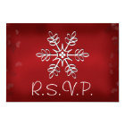 Red and White Snowflake Wedding RSVP Response Card
