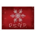 Red and White Snowflake Wedding RSVP Response Card 9 Cm X 13 Cm Invitation Card