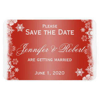 Red and White Snowflake Wedding Save the Date Rectangular Photo Magnet