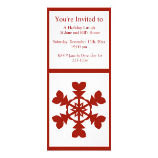 Red and White Snowflakes Holiday Personalized Rack Card