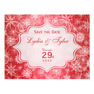 Red and White Snowflakes Save the Date Card Postcard