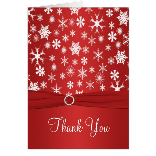 Red and White Snowflakes Thank You Card