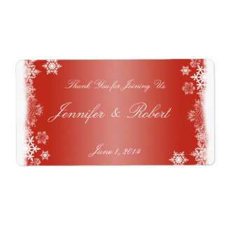 Red and White Snowflakes Wedding Water Label Shipping Label