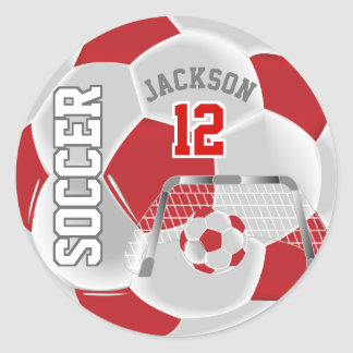 Red and White Soccer Ball Classic Round Sticker