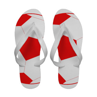 Red and White Soccer Ball Sandals