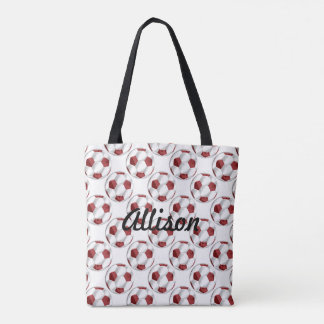 Red and White Soccer Balls with Name Tote Bag