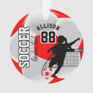 Red and White Soccer Goalie Girl Ornament