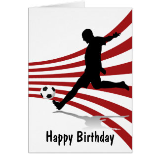 Red and White Soccer Player Happy Birthday Card