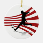 Red and White Soccer Player Ornament