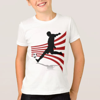 Red and White Soccer Player T-shirt
