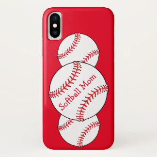 Red and White Softball Mom Sports iPhone X Case