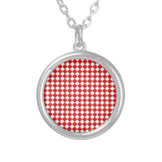 Red and white square pendant