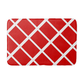 Red and White Squares 2 Bath Mats