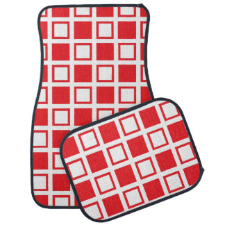 Red and White Squares Car Mat