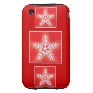 Red and White Star Snowflake Tough iPhone 3 Covers