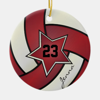 Red and White Star Volleyball Round Ceramic Decoration