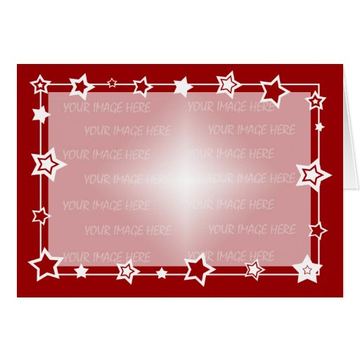 Red and White Stars Christmas Card Border