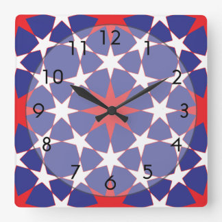 Red and White Stars on Blue Wall Clock
