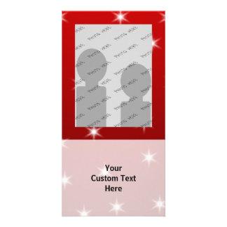 Red and White Stars Pattern. Custom Photo Card