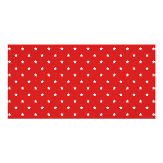 Red and white stars pattern. photo greeting card