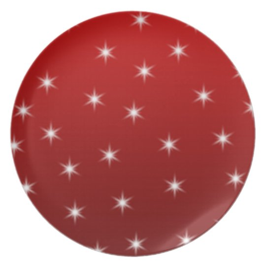 Red and White Stars Pattern. Plate