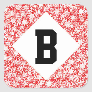 Red and White Stars Team Spirit Sports Colors Square Sticker