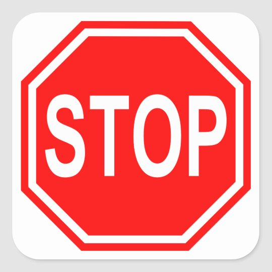 Red and White Stop Sign Sticker