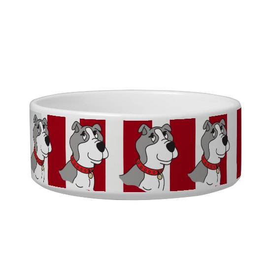 Red and White Stripe and Pitbull - DIY Name Bowl