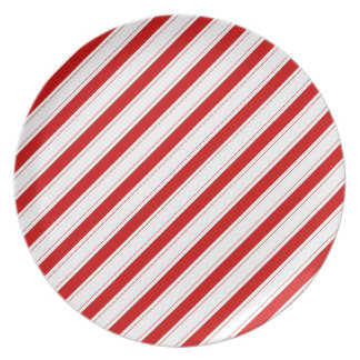 Red and White Stripe Celebrations Plate
