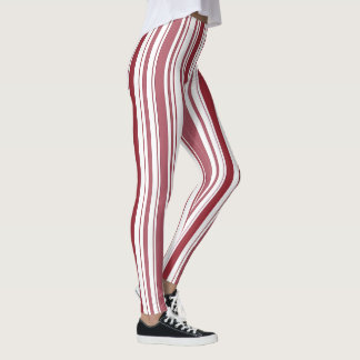 Red and White Stripe Christmas Leggings