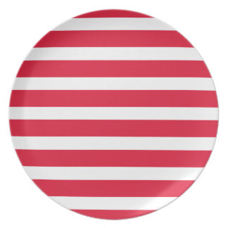 Red and White Stripe Customizable Products Party Plates