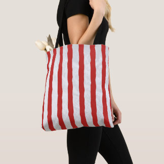 Red and White Stripe Pattern Tote Bag