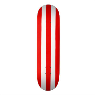 Red and White Stripe Skateboard Deck