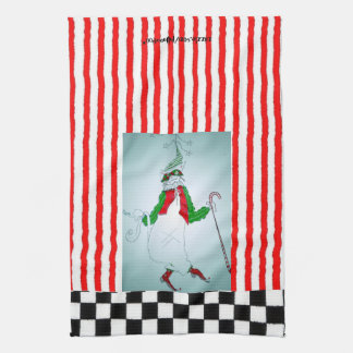 Red and White Striped Dancing Holiday Cat Tea Towels
