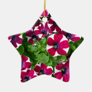 Red and white striped petunias christmas ornaments
