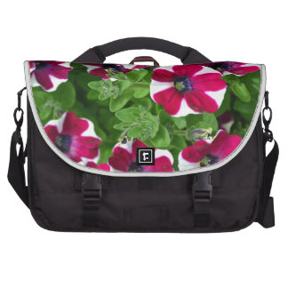 Red and white striped petunias laptop messenger bag